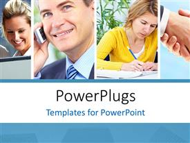 PowerPlugs: PowerPoint template with collage of business professionals over white background