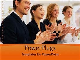 PowerPlugs: PowerPoint template with business people clapping in celebration, congratulations, promotion, orange border