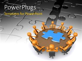 PowerPlugs: PowerPoint template with business people finding solution around the round table with jigsaw