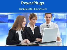 PowerPlugs: PowerPoint template with business people gathered around laptop with animated background