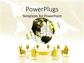 PowerPlugs: PowerPoint template with business people in gold chairs around large conference table under yellow and black globe
