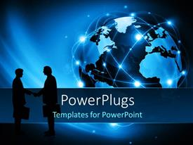 PowerPlugs: PowerPoint template with business people handshake with digital globe in background