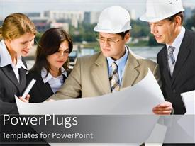 PowerPlugs: PowerPoint template with business people with hard hats studying blueprint diagram