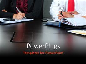 PowerPlugs: PowerPoint template with business people having a meeting round an office table