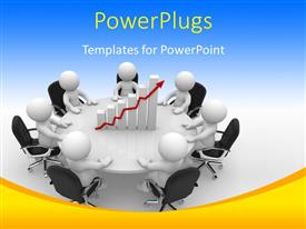 PowerPlugs: PowerPoint template with business people having round table meeting with financial chart