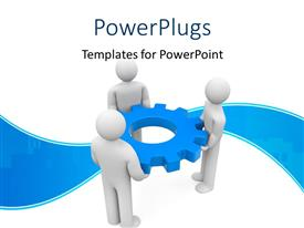 PowerPoint template displaying business people holding gear depicting partnership with nice blue curve