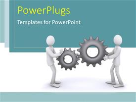 PowerPlugs: PowerPoint template with business people holding industrial gear wheels in hand over blue and white background