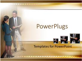 PowerPoint template displaying business people with man and woman discussing papers, brown borders