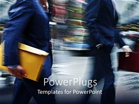 PowerPoint template displaying business people with manila envelopes against motion blur background