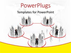 PowerPlugs: PowerPoint template with group of business professionals linked in red circles depicting business network