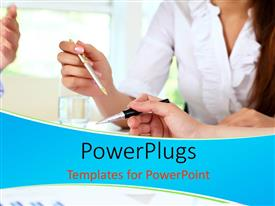 PowerPlugs: PowerPoint template with business team discussing over table in office building