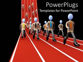 PowerPlugs: PowerPoint template with business people running in a marathon race, success in business