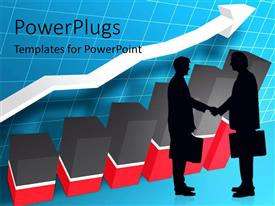 PowerPlugs: PowerPoint template with business people shaking hands with bar graph