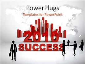 PowerPlugs: PowerPoint template with business people shaking hands with colorful chart over world map