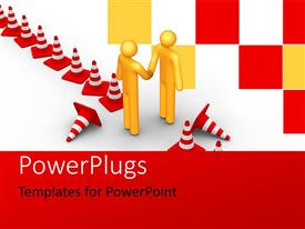 PowerPlugs: PowerPoint template with business people shaking hands overcoming barriers with colored checks