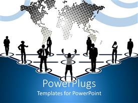 PowerPoint template displaying business people sitting in circles creating a triangle and plain world map in the background