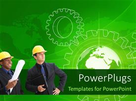 PowerPoint template displaying business people standing in front of gear wheel blue print and globe