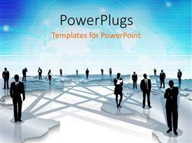 PowerPlugs: PowerPoint template with business people standing scattered across large world map connected by gray lines