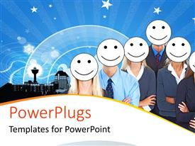 PowerPlugs: PowerPoint template with business people with white smiley faces
