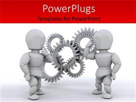 PowerPoint template displaying business people working together to solve the problem with white color