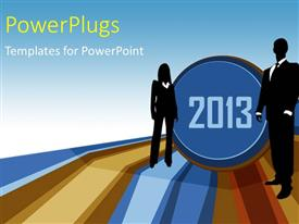 PowerPlugs: PowerPoint template with business people in year 2013, with strips