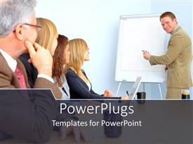 PowerPlugs: PowerPoint template with business person giving presentation on white board, people listening carefully