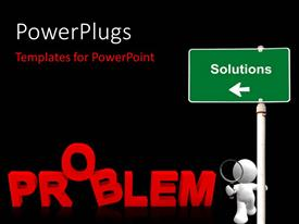 PowerPlugs: PowerPoint template with business person searching for solution for a problem with black color