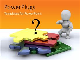 PowerPlugs: PowerPoint template with business person standing next to an unfinished puzzle with orange color