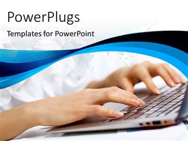PowerPlugs: PowerPoint template with business person working on computer against technology background with blue curves