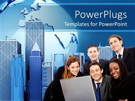 PowerPlugs: PowerPoint template with business personnel's smiling with tall office buildings behind