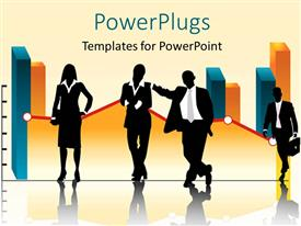PowerPlugs: PowerPoint template with business persons leaning on financial charts with background reflection