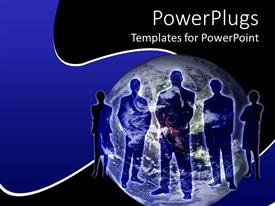 PowerPlugs: PowerPoint template with business persons stand across globe with blue and black background