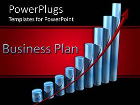 PowerPoint template displaying a business plan with a growth chart and black background