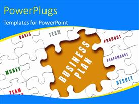 PowerPlugs: PowerPoint template with the business plan puzzle piece missing and a few puzzle pieces with business terms written on them