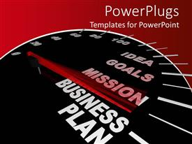 PowerPlugs: PowerPoint template with business plan speedometer with motivational words for achieving success in business