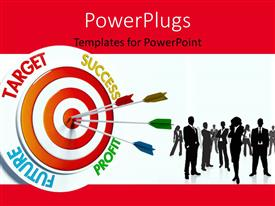 PowerPlugs: PowerPoint template with business professionals with colorful darts stuck in bulls eye of business target