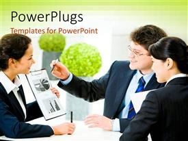 PowerPoint template displaying business professionals discussing new project in office building