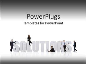 PowerPlugs: PowerPoint template with business professionals lean against 3D SOLUTIONS on white background