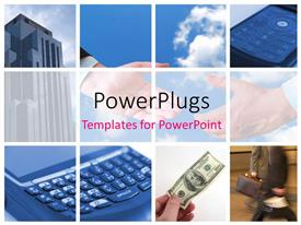 PowerPlugs: PowerPoint template with business related collage with calculator dollar bills and business handshake