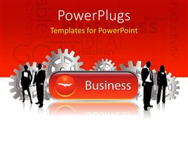 PowerPoint template displaying a business representation with words in the background