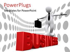 PowerPlugs: PowerPoint template with business risk depicted with man carrying briefcase walking on 3D rendered business