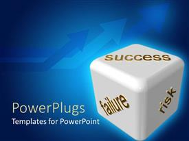 PowerPlugs: PowerPoint template with business risk depiction with SUCCESS, FAILURE and RISK on sides of dice