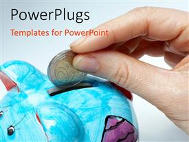 PowerPlugs: PowerPoint template with a person putting money in the piggy bank