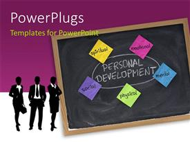PowerPlugs: PowerPoint template with business silhouettes with Dimensions of personal development - spiritual, emotional, mental, physical, social with purple color