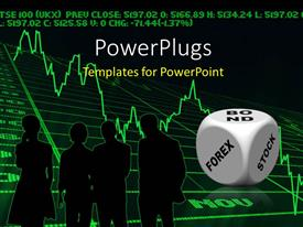 PowerPlugs: PowerPoint template with business silhouettes discussing bond forex stocks with graph
