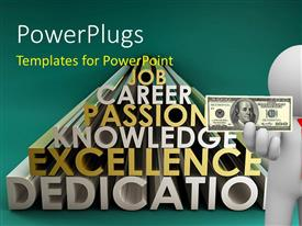 PowerPlugs: PowerPoint template with a person with a dollar note and words in background