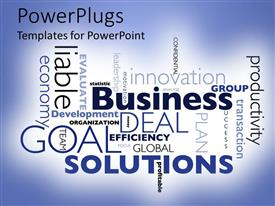 PowerPoint template displaying business solutions word cloud, goals, efficiency, productivity, innovation, leadership, profitable, economy, motivation