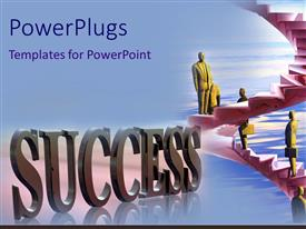 PowerPlugs: PowerPoint template with business statues standing on a flight of stairs with a Success text