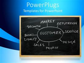 PowerPlugs: PowerPoint template with business strategy chart on a chalk board, on a blue background