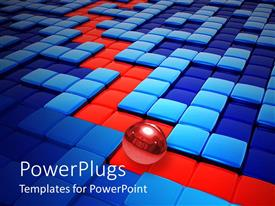 PowerPlugs: PowerPoint template with business strategy metaphor with red ball rolling through blue maze